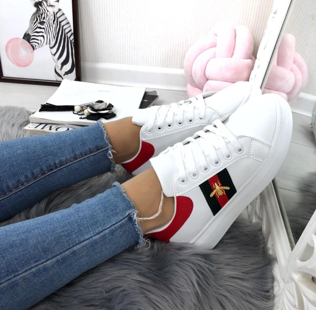cdb0cfcdb3e3 Кроссовки Gucci с пчелой кеды слипоны гуччи - IQueen - интернет-магазин  женской обуви в