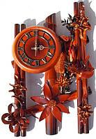 Часы из натуральной кожи и бамбука-Три паралели