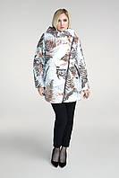 Принтованная женская куртка на косой молнии в больших размерах 202968 b78adc5a8e7