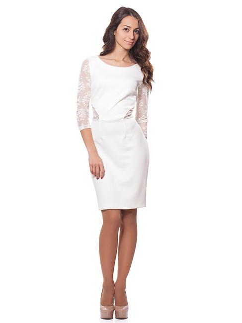 Белое женское платье с гипюром (размер XL)