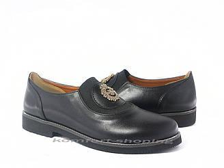 Туфли  женские  кожаные, черные  V 1197