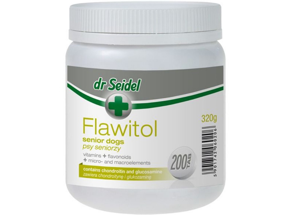 ФЛАВИТОЛ Доктора Зейделя FLAWITOL Dr.Seidel с хондроитином и глюкозамином для пожилых собак, 200 таблеток