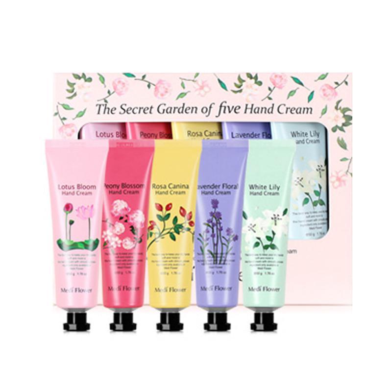 Подарочный набор кремов для рук с цветочными экстрактами Medi Flower The Secret Garden of Five Hand Cream