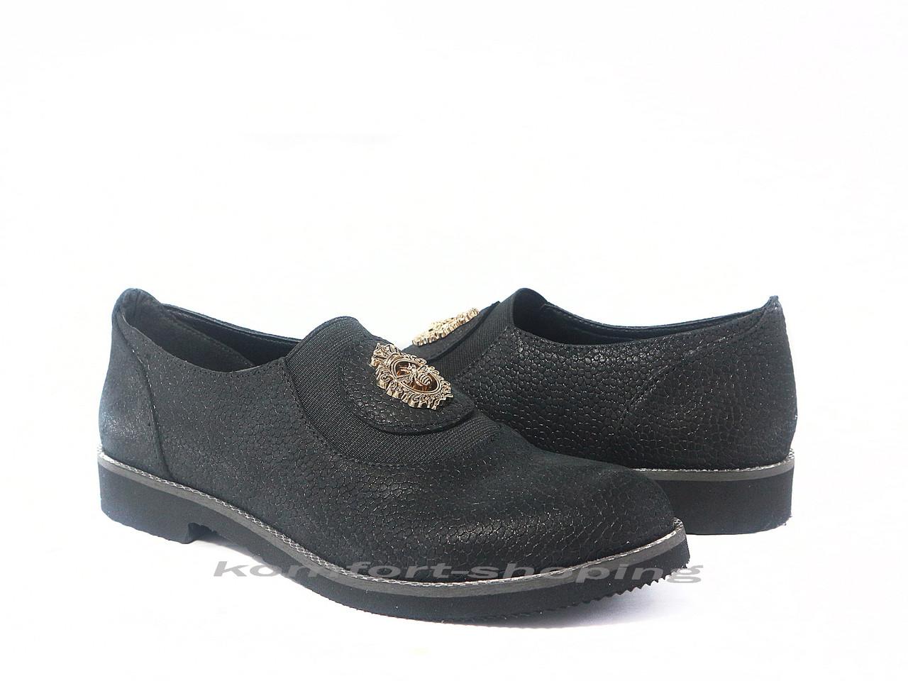 Туфли  женские  кожаные, черные (флотар) V 1197