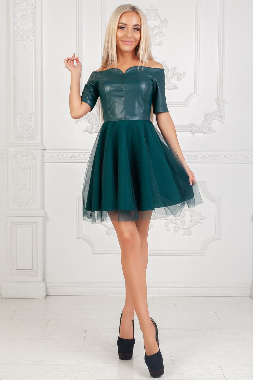 3426d14a208 Женское пышное платье с открытыми плечами до колен верх эко-кожа - PaFason  в Одессе
