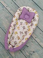 Кокон гнездышко Babynest для новорожденного+подушка ортопедическая, двухсторонний