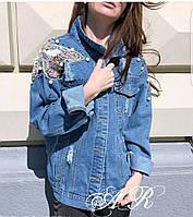 Куртка джинсовая с нашивками бабочка и потертостями