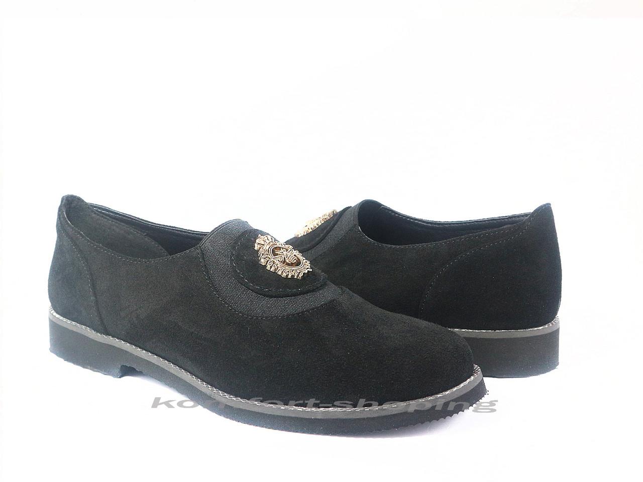 Туфли  женские  замшевые, черные  V 1197