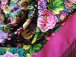 Диво дивное 1798-6, павлопосадский платок (шаль) из уплотненной шерсти с шелковой вязанной бахромой, фото 8