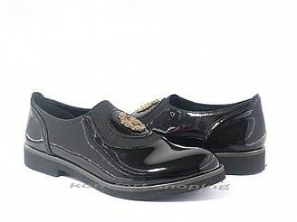 Туфли  женские  лаковые, черные  V 1197