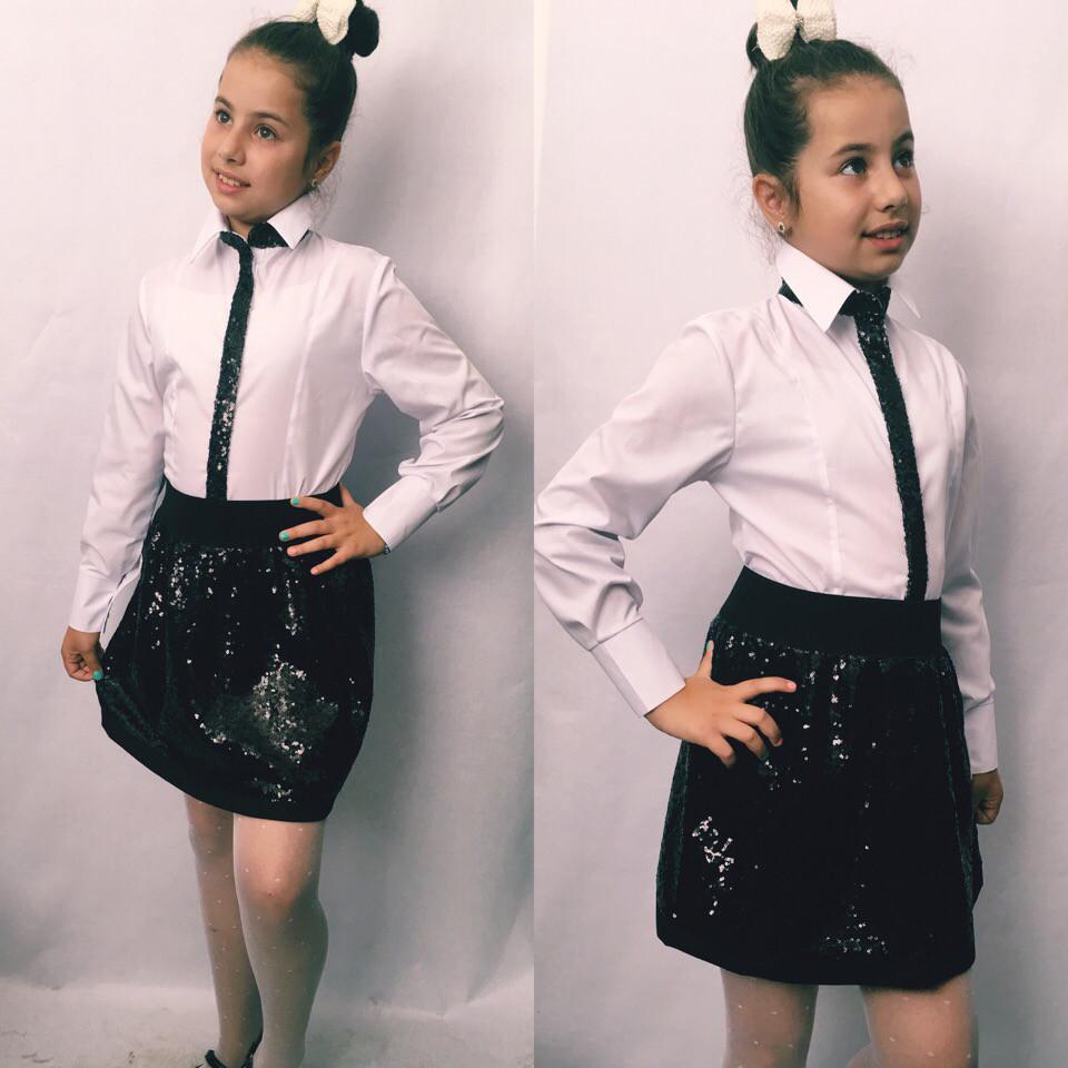 Стильная детская юбка из пайеток школа