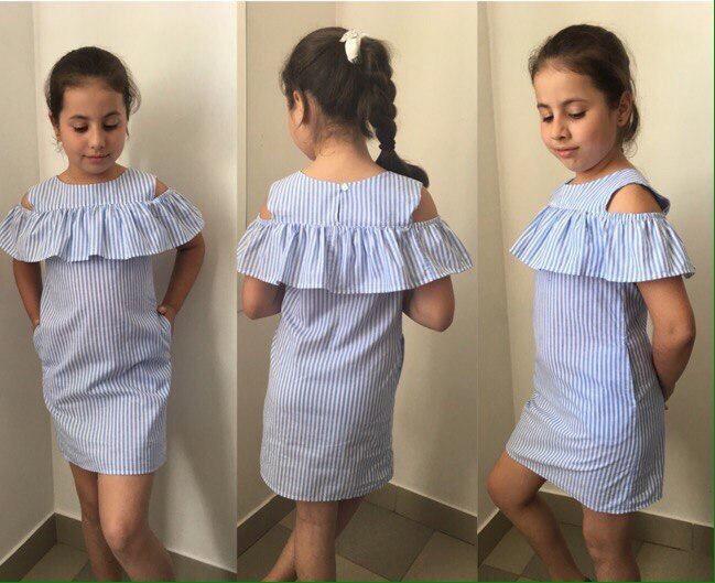 Детское стильное платье с баской лён новинка