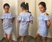Детское стильное платье с баской лён новинка, фото 1