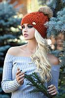 Теплая вязаная шапка Орианн терракот