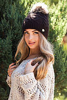 Теплая женская шапка Орианн коричневая