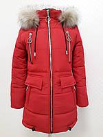 2018 Зимняя детская подростковая куртка для девочки Маркиза красная