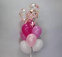 Шары с конфетти в розовом цвете набор