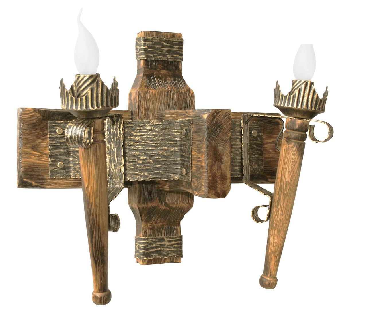"""Деревянное бра  """"Факел стандарт"""" 1/2 факела состаренное темное на 2 лампы"""