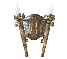"Деревянная люстра Балка ""Факел стандарт""старая бронза на 6 ламп , фото 3"