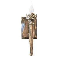 """Деревянное бра  """"Факел стандарт"""" состаренное темное на 1 лампу"""