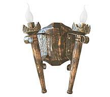 """Деревянная люстра Балка  """"Факел стандарт"""" состаренная темная на 8 ламп, фото 3"""