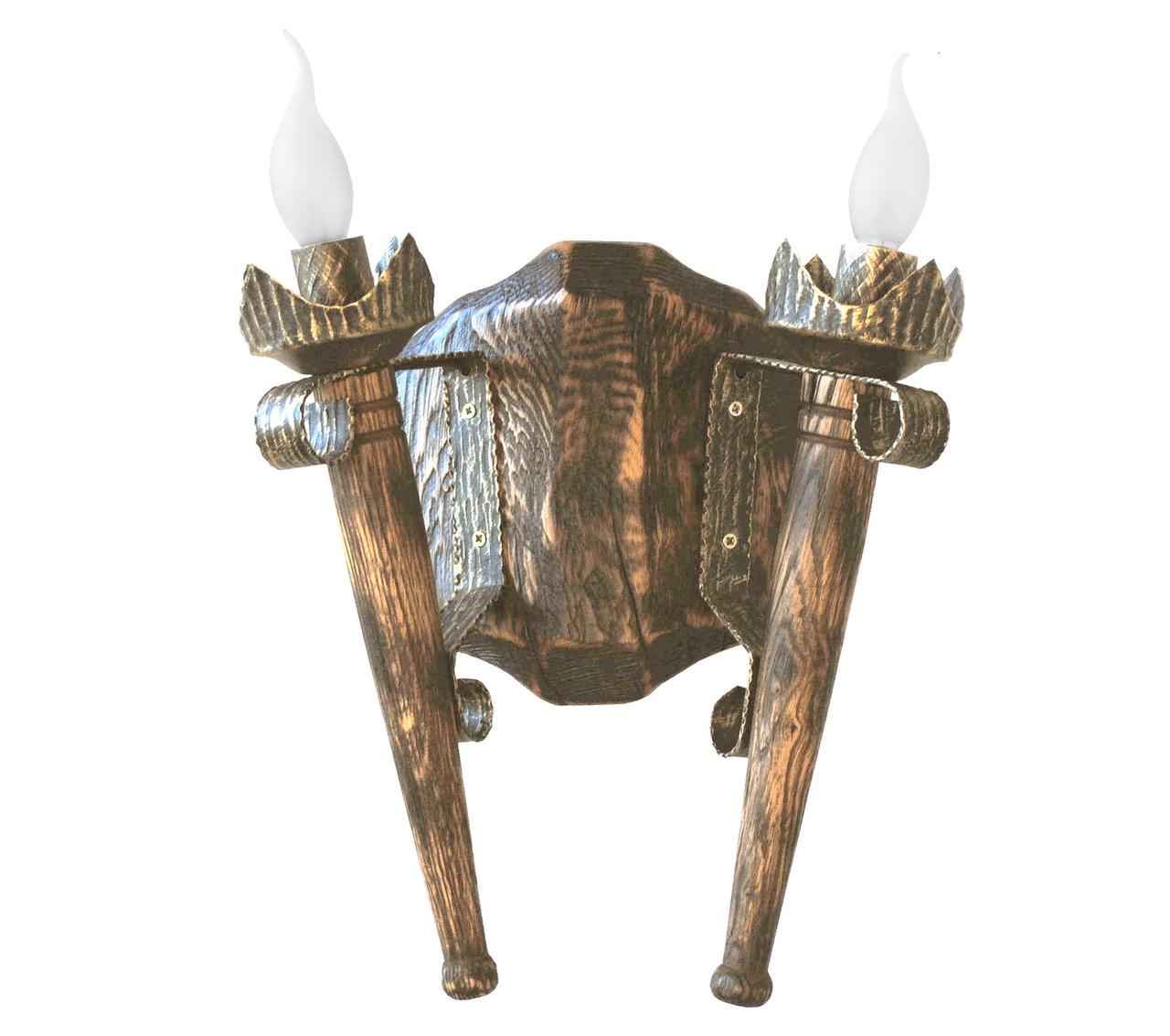 """Деревянное бра  """"Факел стандарт"""" состаренное темное на 2 лампы"""