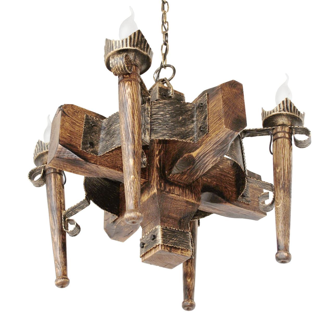 """Деревянная люстра  """"Факел стандарт"""" кольцо состаренная темная на 4 лампы"""