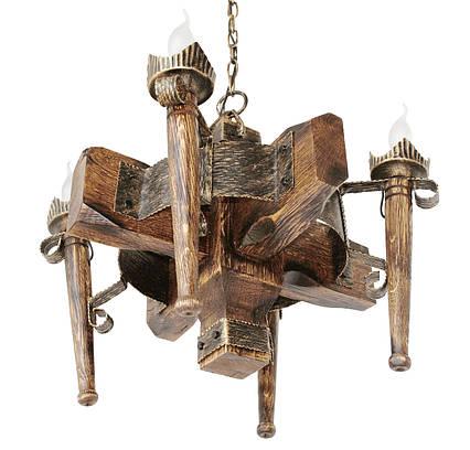 """Деревянная люстра  """"Факел стандарт"""" кольцо состаренная темная на 4 лампы , фото 2"""