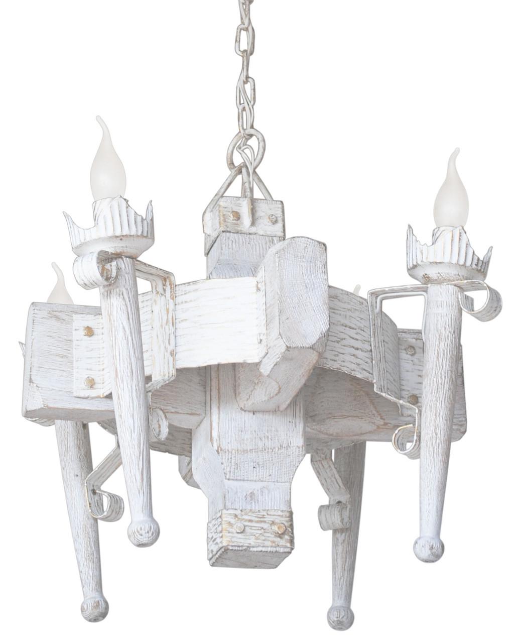 """Деревянная люстра  """"Факел стандарт"""" кольцо белая с золотом на 4 лампы"""