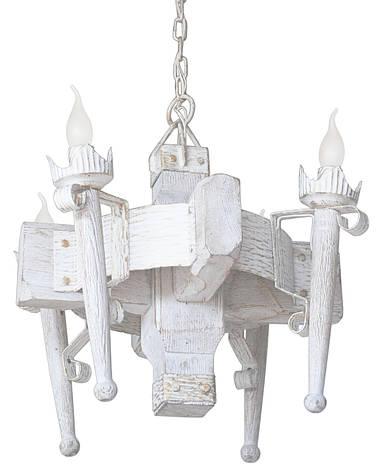 """Деревянная люстра  """"Факел стандарт"""" кольцо белая с золотом на 4 лампы, фото 2"""