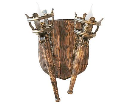 """Деревянное бра серии """"Факел римский"""" состаренное темное на 2 лампы , фото 2"""