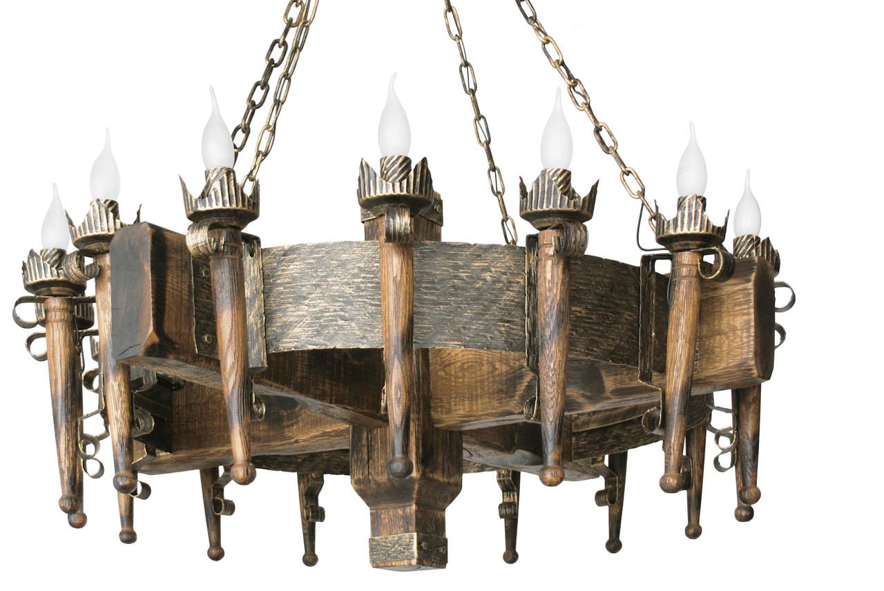 """Деревянная люстра  """"Факел стандарт"""" кольцо состаренная темная на 16 ламп"""