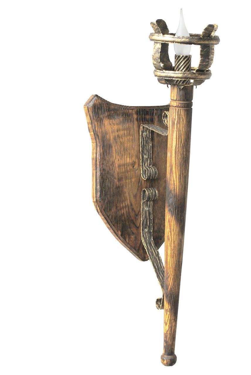 """Деревянное бра  """"Факел римский"""" на 1 лампу удлиненный L= 930мм"""