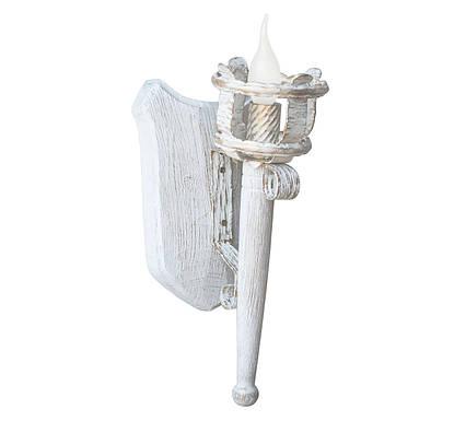 """Деревянное бра  """"Факел римский"""" белое с золотом на 1 лампу, фото 2"""