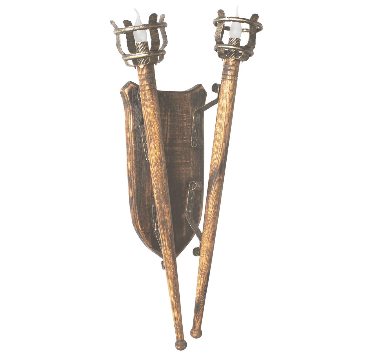 """Деревянное бра """"Факел римский"""" удлиненный L= 930мм на 2 лампы"""