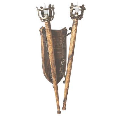 """Деревянное бра """"Факел римский"""" удлиненный L= 930мм на 2 лампы, фото 2"""