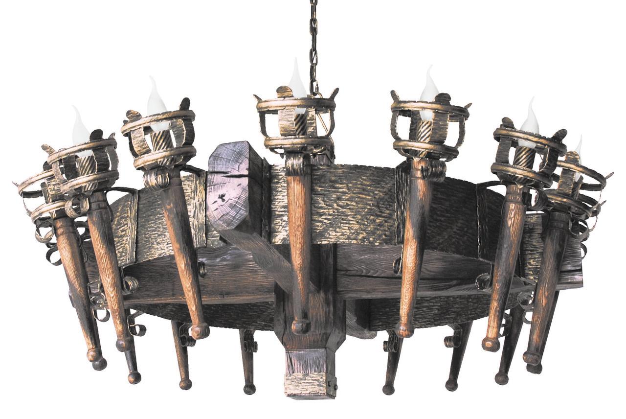 """Деревянная люстра  """"Факел Римский"""" кольцо состаренная темная на 16 ламп"""
