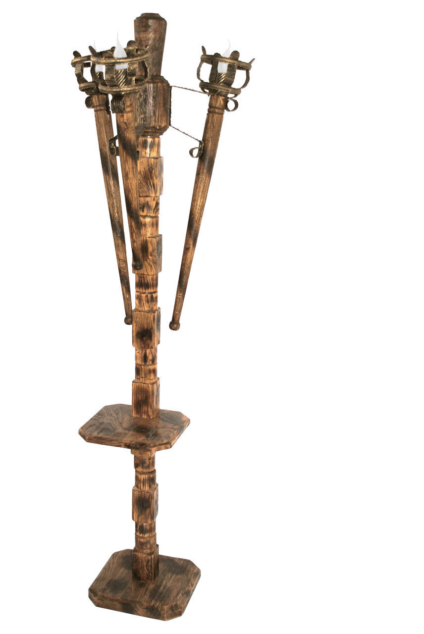 """Торшер из  дерева  """"Факел римский"""" на 3 лампы состаренный темный на 3 лампы"""