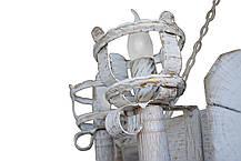 """Люстра из дерева  """"Факел Римский"""" кольцо из трех люстр состаренная темная на 4+8+12 ламп, фото 2"""