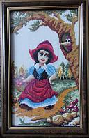 Картина «Красная шапочка» вышитая крестом ручной работы 25х15 см