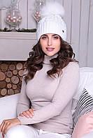 Белая шапочка с отворотом Анжелика