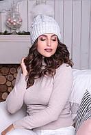 Светло-серая шапочка с отворотом Анжелика