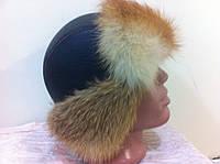Мужская  ушанка из  натуральной кожи и меха лисы