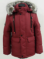 2018 Утеплённая детская подростковая куртка Рамиз бордо