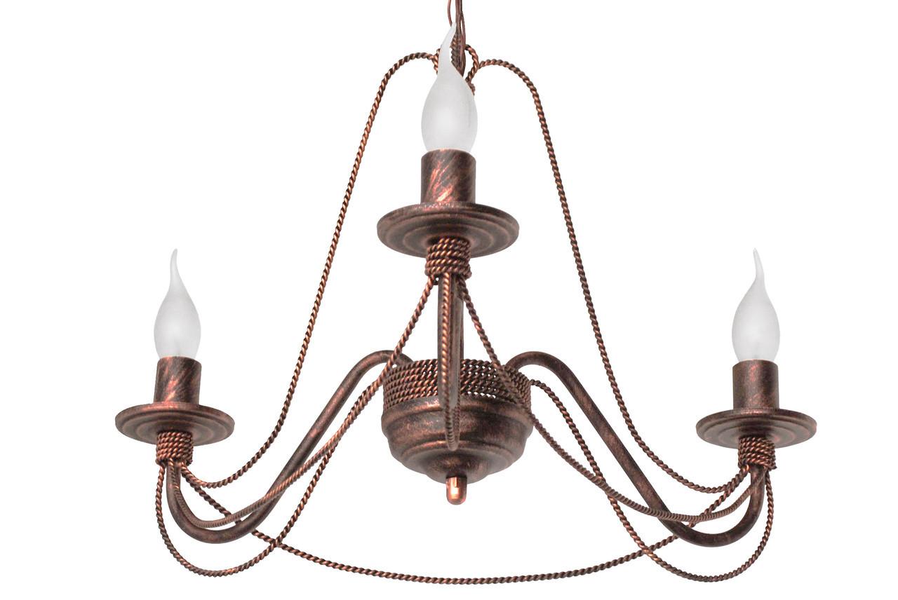 """Люстра кованая  """"Косички""""  старая медь на 3 лампы"""