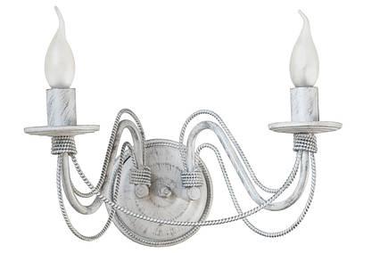 """Кованые бра  """"Косички""""  белое серебро на 2 лампы, фото 2"""