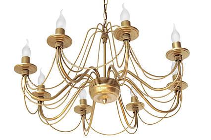 """Люстра кованая  """"Косички""""  золото лак на 8 ламп, фото 2"""