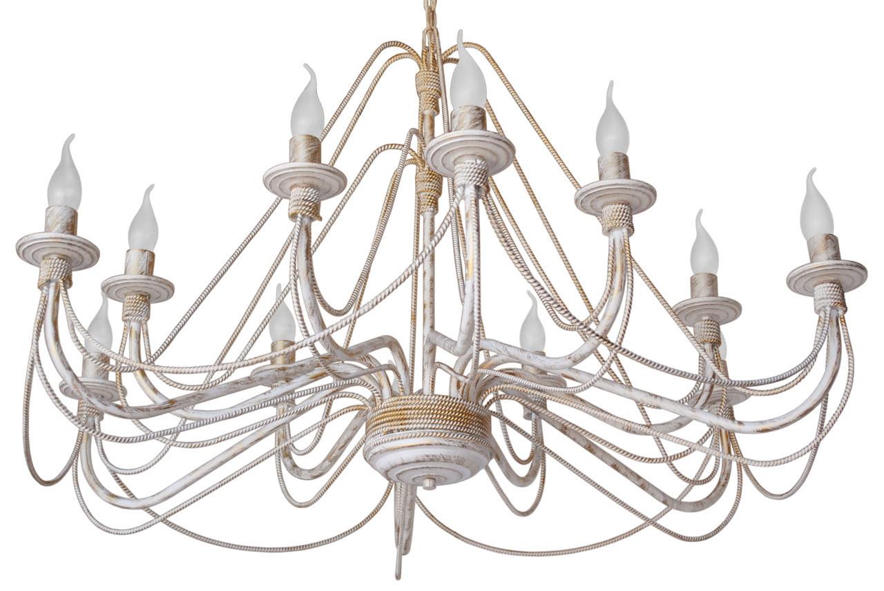 """Люстра кованая """"Косички"""" белая с золотом на 12 ламп (диаметр 870 мм, h= 500 мм"""