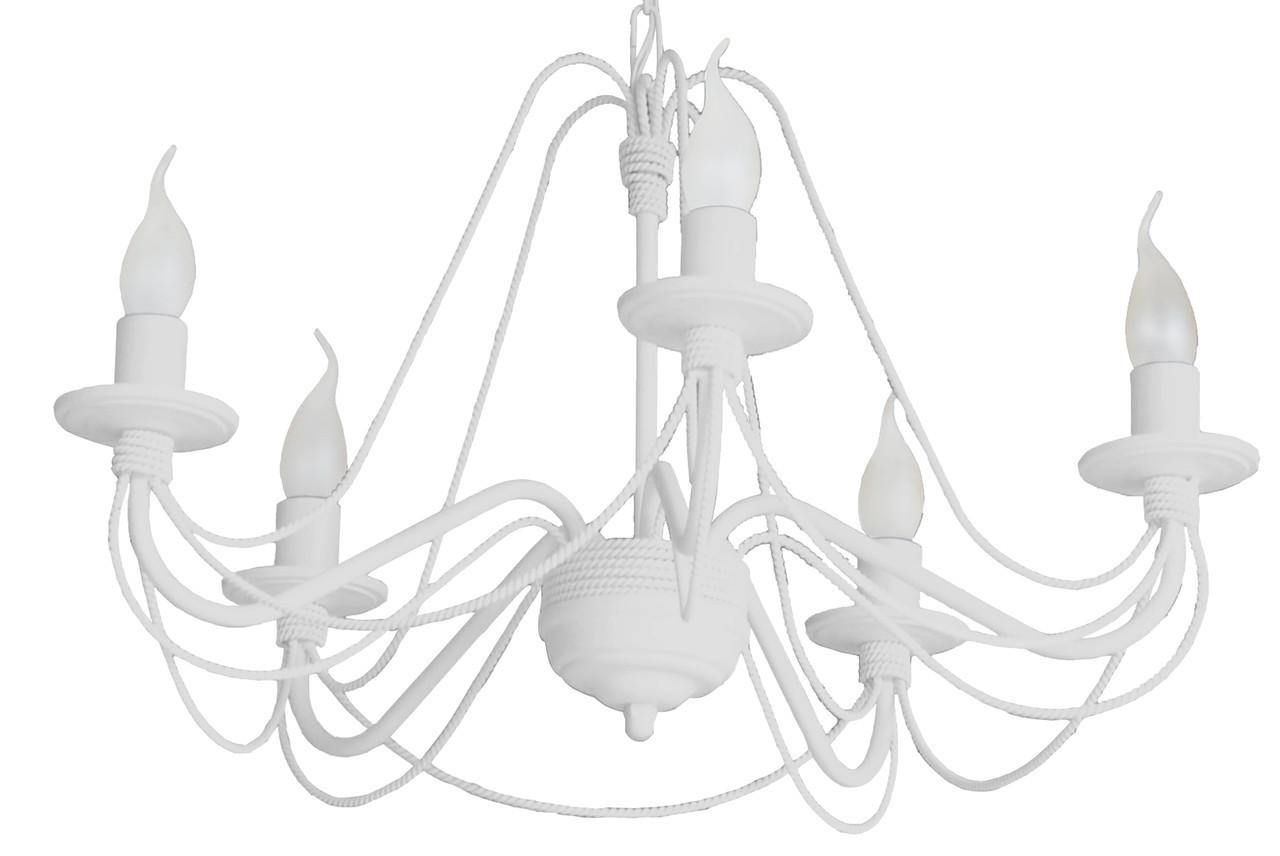 """Люстра кованая  """"Косички"""" на 5 ламп белая"""
