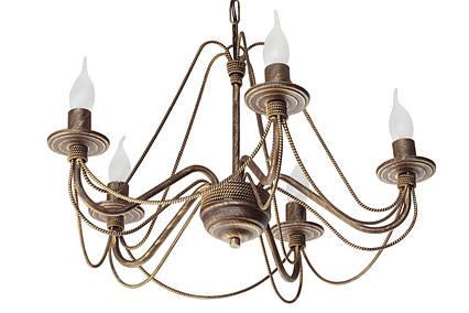 """Люстра кованая  """"Косички""""  коричневая с золотом  на 5 ламп, фото 2"""